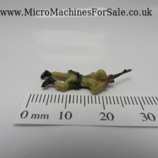 Laying down gunner soldier